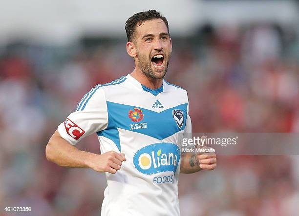 Carl Valeri of Melbourne Victory celebrates scoring a goal during the round 15 ALeague match between the Western Sydney Wanderers and Melbourne...