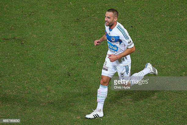 Carl Valeri of the Victory celebrates a goal during the round 18 ALeague match between the Brisbane Roar and Melbourne Victory at Suncorp Stadium on...