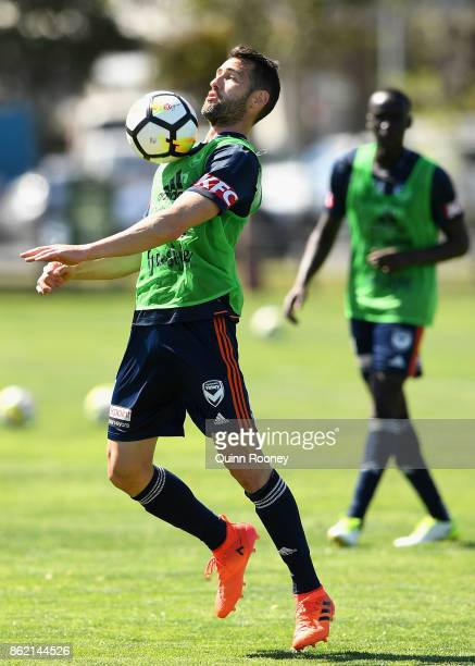 Carl Valeri of the Victory chests the ball during a Melbourne Victory ALeague training session at Gosch's Paddock on October 17 2017 in Melbourne...