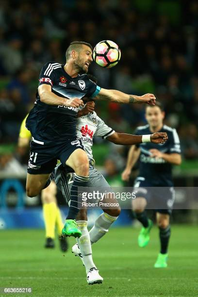 Carl Valeri of the Victory heads the ball during the round 25 ALeague match between the Melbourne Victory and the Wellington Phoenix at AAMI Park on...