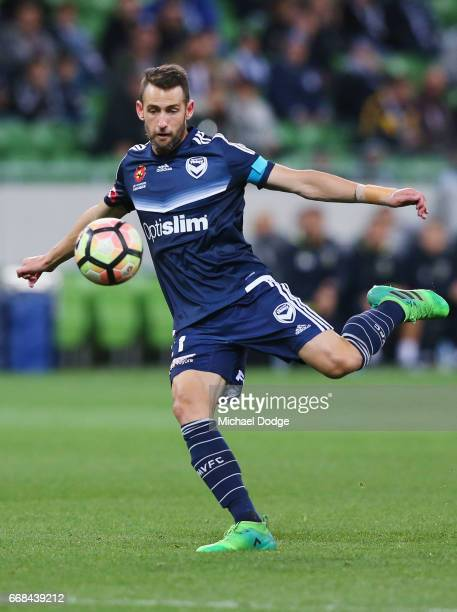 Carl Valeri of the Victory kicks the ball during the round 27 ALeague match between the Melbourne Victory and the Central Coast Mariners at AAMI Park...
