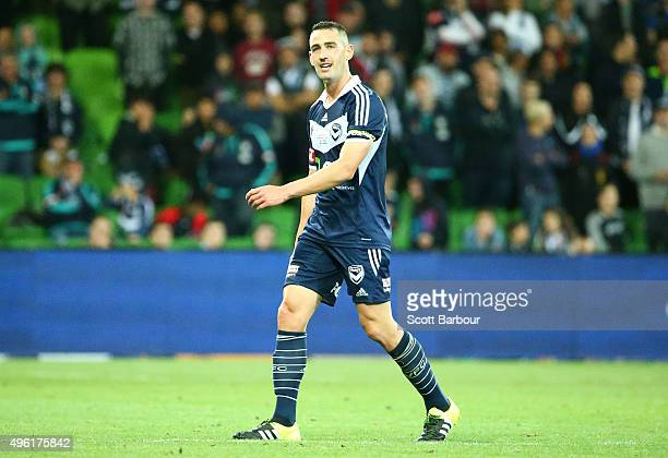 Carl Valeri of the Victory leaves the field after tackling Dino Djulbic of the Glory receives a red card and is sent off during the FFA Cup Final...