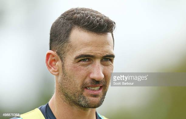 Carl Valeri of the Victory looks on during a Melbourne Victory ALeague training session at AAMI Park on November 27 2015 in Melbourne Australia