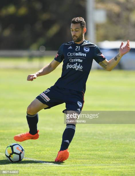 Carl Valeri of the Victory passes the ball during a Melbourne Victory ALeague training session at Gosch's Paddock on October 17 2017 in Melbourne...