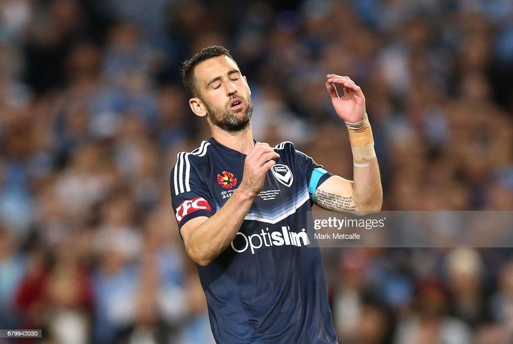 Carl Valeri of the Victory reacts after missing a penalty during the 2017 A-League Grand Final match between Sydney FC and the Melbourne Victory at Allianz Stadium on May 7, 2017 in Sydney, Australia.