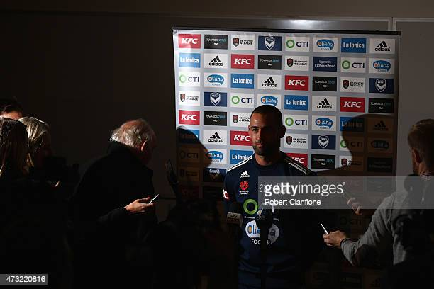Carl Valeri of the Victory speaks to the media during a Melbourne Victory ALeague Media Session at AAMI Park on May 14 2015 in Melbourne Australia