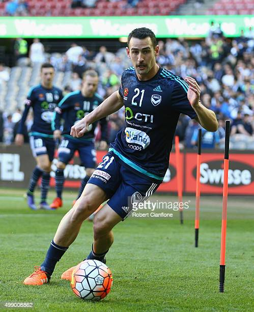 Carl Valeri of the Victory warms up prior to the round eight ALeague match between Melbourne City FC and Adelaide United at Etihad Stadium on...
