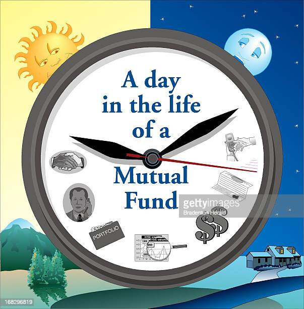 Carl Vaughan illustration of clock with headline 'A day in the life of a Mutual Fund'
