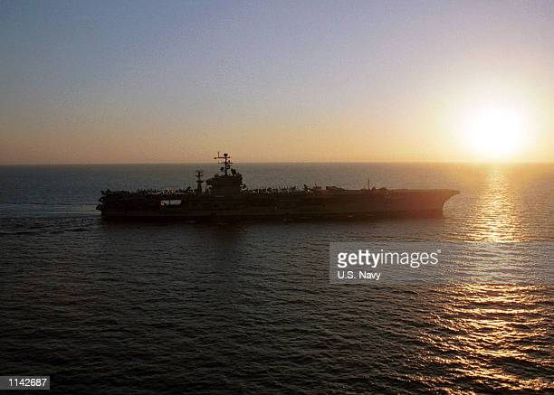 Carl Vinson sails into the sunrise during Operation Enduring Freedom December 7 2001 in the Arabian Sea
