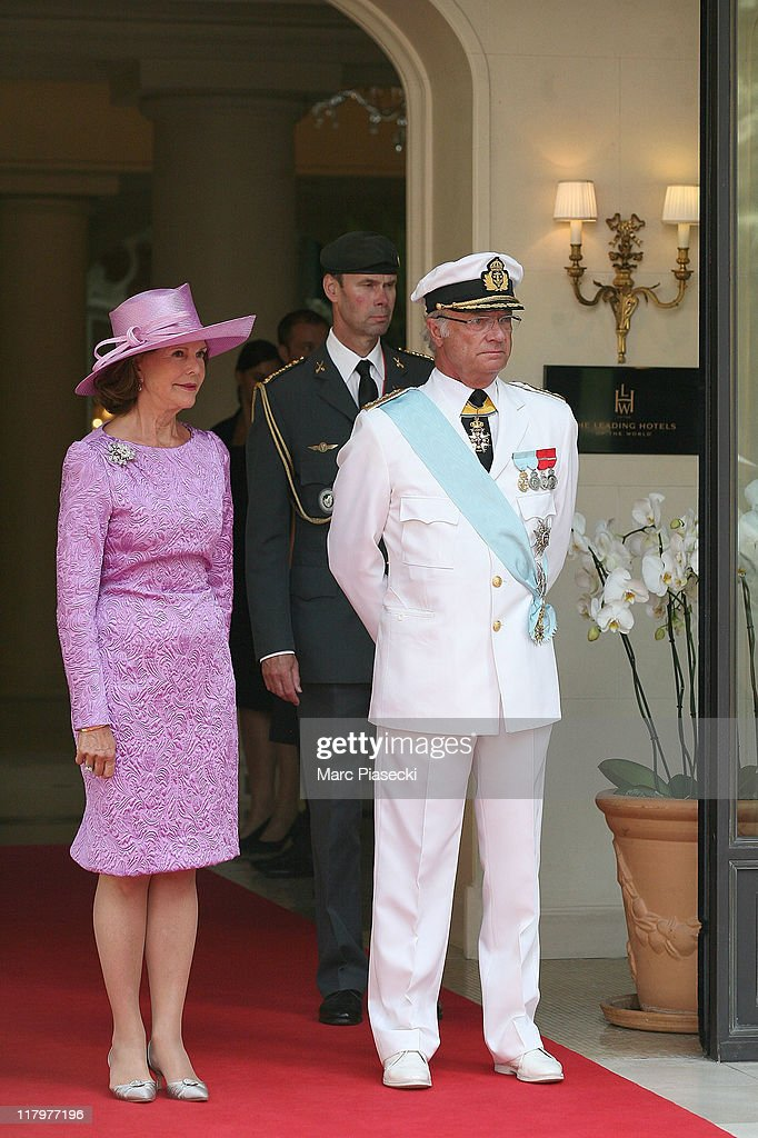 H.M. Carl XVI Gustaf, King of Sweden (R) and Queen Silvia (L) are sighted leaving the 'Hermitage' hotel to attend the Royal Wedding of <a gi-track='captionPersonalityLinkClicked' href=/galleries/search?phrase=Prince+Albert+II+of+Monaco&family=editorial&specificpeople=201707 ng-click='$event.stopPropagation()'>Prince Albert II of Monaco</a> to <a gi-track='captionPersonalityLinkClicked' href=/galleries/search?phrase=Charlene+-+Princess+of+Monaco&family=editorial&specificpeople=726115 ng-click='$event.stopPropagation()'>Charlene</a> Wittstock in the main courtyard at on July 2, 2011 in Monaco, Monaco.