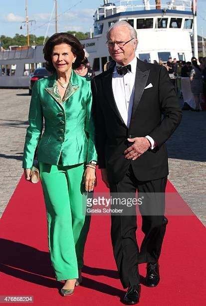 Carl XVI Gustaf of Sweden and his wife Silvia of Sweden arrive for the private PreWedding Dinner of Swedish Prince Carl Philip and Sofia Hellqvist on...
