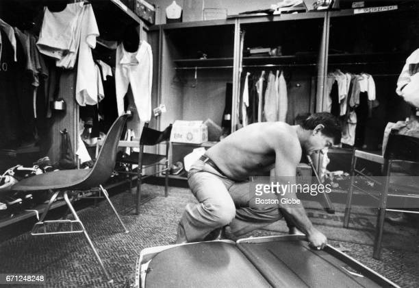 Carl Yastrzemski packs up in the Red Sox clubhouse at Fenway Park in Boston before his last game with the team on Oct 2 1983
