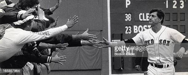 Carl Yastrzemski's retirement 1983 Yaz runs around the field saying good bye to fans
