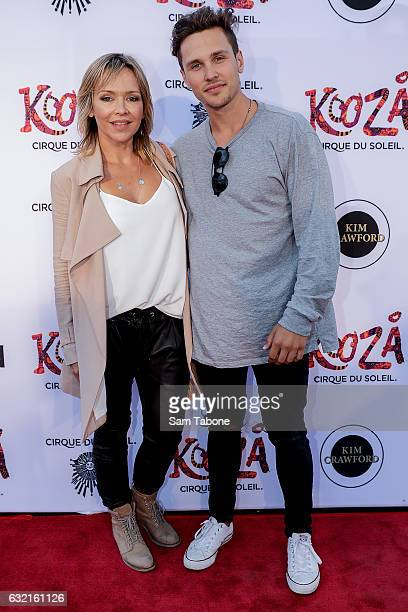 Carla and Harley Bonner at the Cirque Du Soleil KOOZA Melbourne Premiere at Flemington Racecourse on January 20 2017 in Melbourne Australia