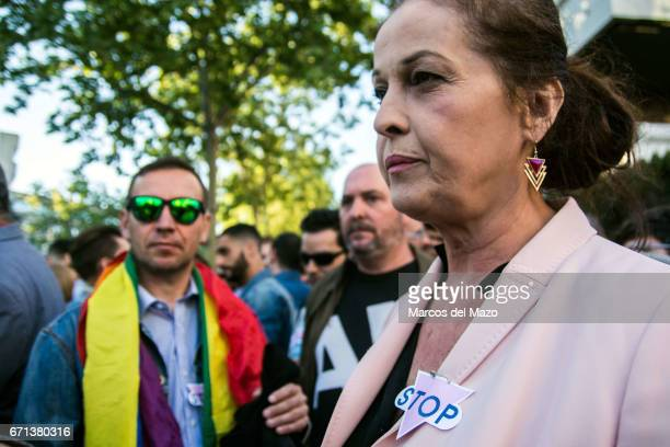 Carla Antonelli supporting a protest against homosexual extermination in Chechnya in front of the Russian Embassy