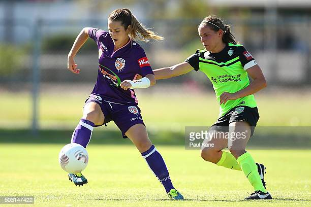 Carla Bennett of the Glory conrols the ball against Nicole Begg of Canberra during the round 12 WLeague match between Perth Glory and Canberra United...