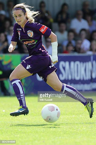 Carla Bennett of the Glory runs with the ball during the round 13 WLeague match between Perth Glory and Adelaide United at Ashfield Sports Club on...