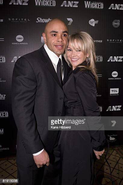 Carla Bonner and guest arrives for the Australian premiere of 'Wicked' the musical at the Regent Theatre on July 12 2008 in Melbourne Australia