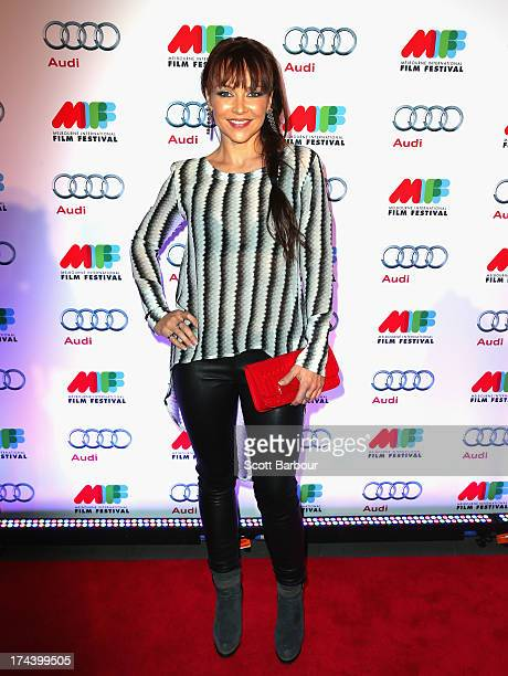Carla Bonner arrives at the Australian premiere of 'I'm So Excited' on opening night of the Melbourne International Film Festival at Hamer Hall on...