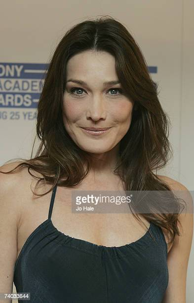 Carla Bruni arrives at the Sony Radio Awards honours the best in radio broadcasting talent at the Grosvenor House Hotel on April 30 2007 in London