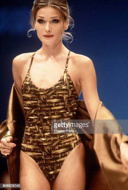 Carla Bruni at the Gianfranco Ferre Spring 1992 show circa 1991 in Milan Italy