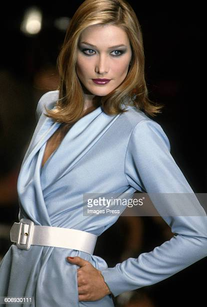Carla Bruni at the Yves Saint Laurent fashion show circa 1990s in Paris France