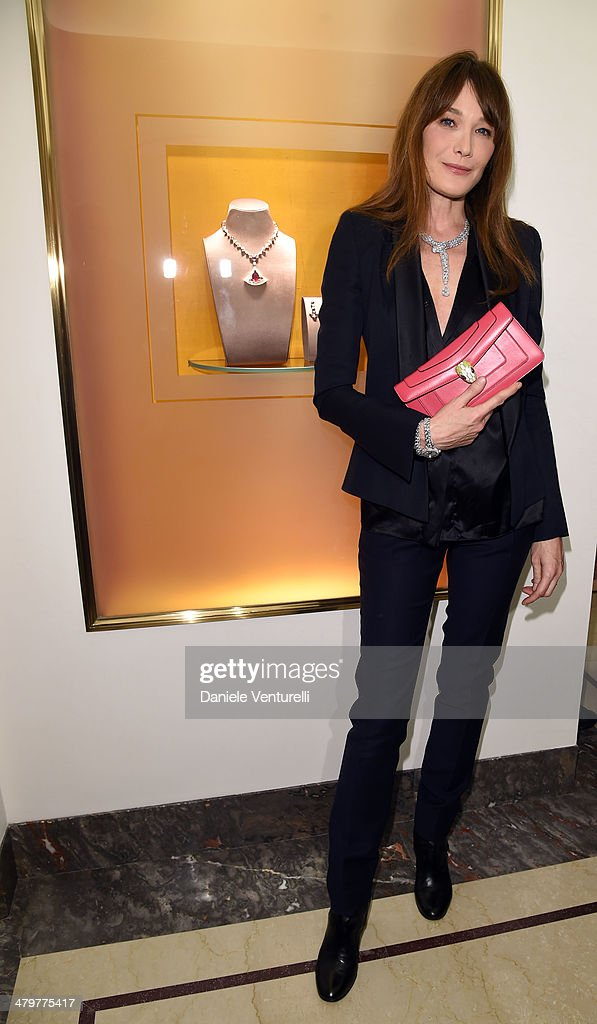 <a gi-track='captionPersonalityLinkClicked' href=/galleries/search?phrase=Carla+Bruni&family=editorial&specificpeople=235729 ng-click='$event.stopPropagation()'>Carla Bruni</a> attends 'Bvlgari Celebrates 130 Years In Rome' at Via Condotti on March 20, 2014 in Rome, Italy.