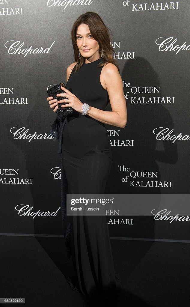 Carla Bruni attends Chopard presenting The Garden of Kalahari at Theatre du Chatelet on January 21, 2017 in Paris, France.