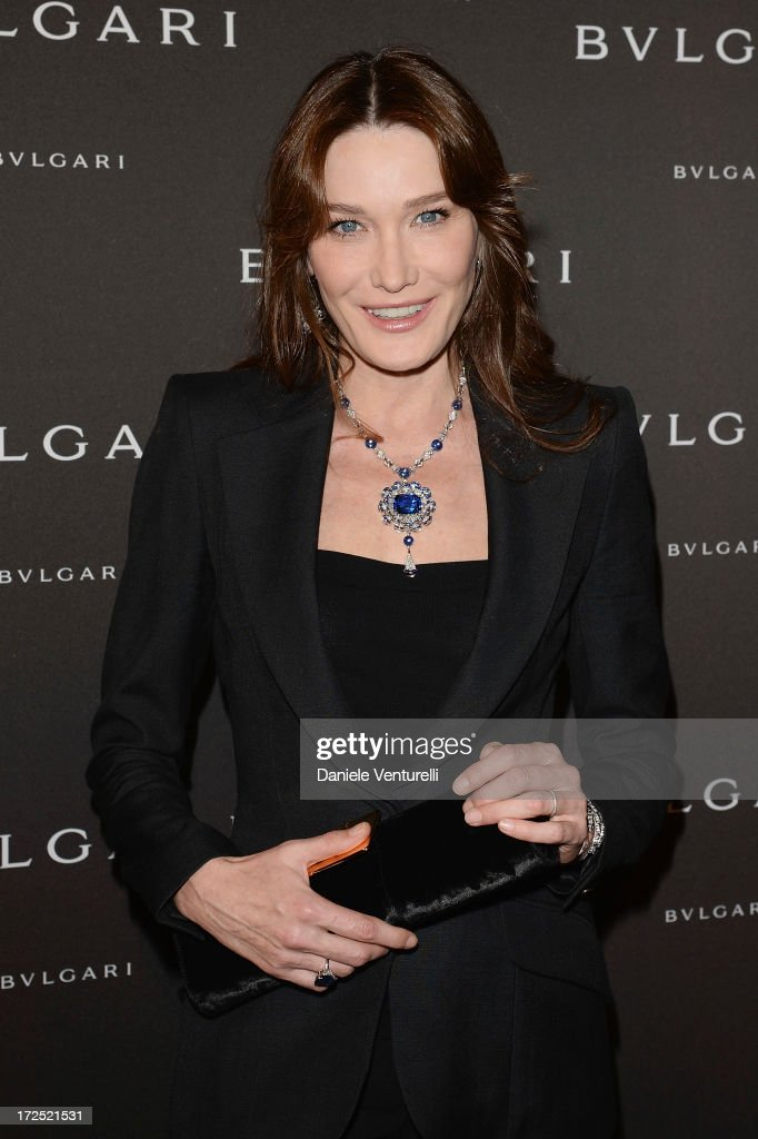 <a gi-track='captionPersonalityLinkClicked' href=/galleries/search?phrase=Carla+Bruni&family=editorial&specificpeople=235729 ng-click='$event.stopPropagation()'>Carla Bruni</a> attends the Bulgari Diva Event at Hotel Potocki on July 2, 2013 in Paris, France.