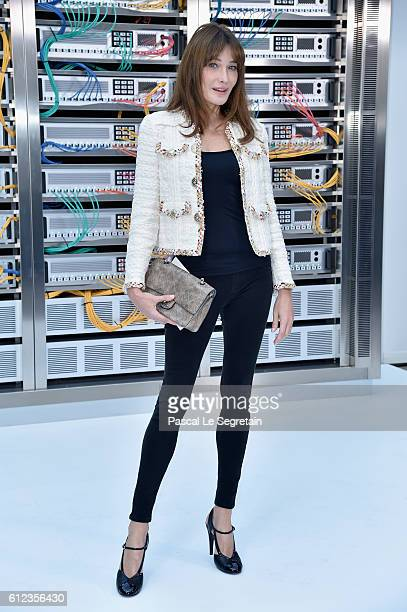 Carla Bruni attends the Chanel show as part of the Paris Fashion Week Womenswear Spring/Summer 2017 on October 4 2016 in Paris France