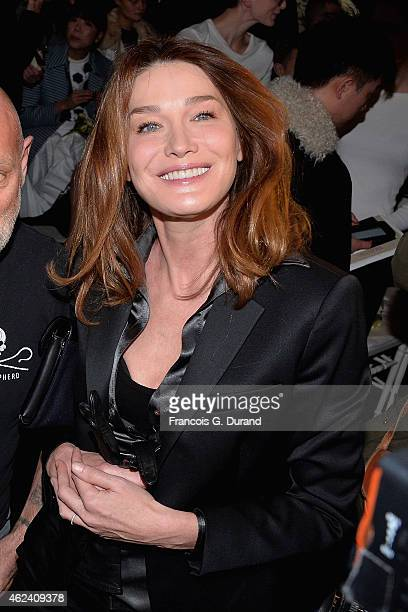 Carla Bruni attends the Jean Paul Gaultier show as part of Paris Fashion Week Haute Couture Spring/Summer 2015 on January 28 2015 in Paris France