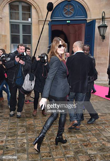 Carla Bruni attends the Schiaparelli show as part of Paris Fashion Week Haute Couture Spring/Summer 2015 on January 26 2015 in Paris France