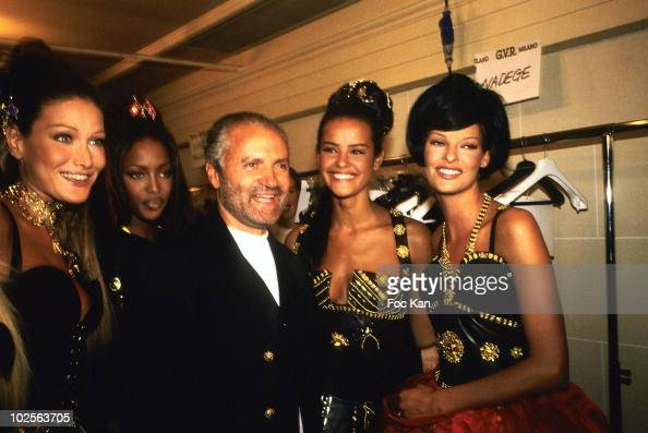 Carla Bruni Naomi Campbell Gianni Versace Nadege and Linda Evangelista attend the Versace High Fashion Show at the Ritz Hotel on July 11992 in Paris...