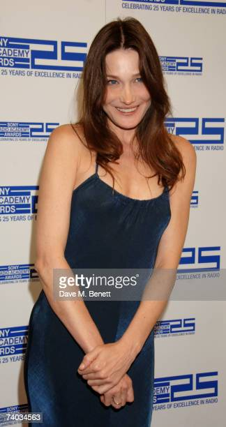 Carla Bruni poses in the awards room at the Sony Radio Academy Awards 2007 at Grosvenor House Hotel on April 30 2007 in London England The ceremony...