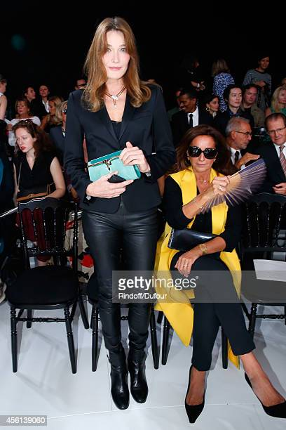Carla Bruni Sarkozy and Katia Toledano attend the Christian Dior show as part of the Paris Fashion Week Womenswear Spring/Summer 2015 on September 26...