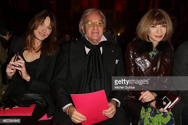 Carla Bruni Sarkozy Diego Della Valle and Anna Wintour attend the Schiaparelli show as part of Paris Fashion Week Haute Couture Spring/Summer 2015 on...