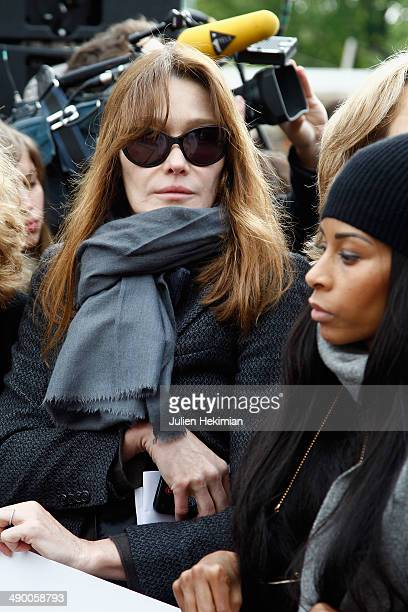 Carla Bruni Sarkozy participates to the demonstration in support for kidnapped Nigerian schoolgirls at the Trocadero on May 13 2014 in Paris France