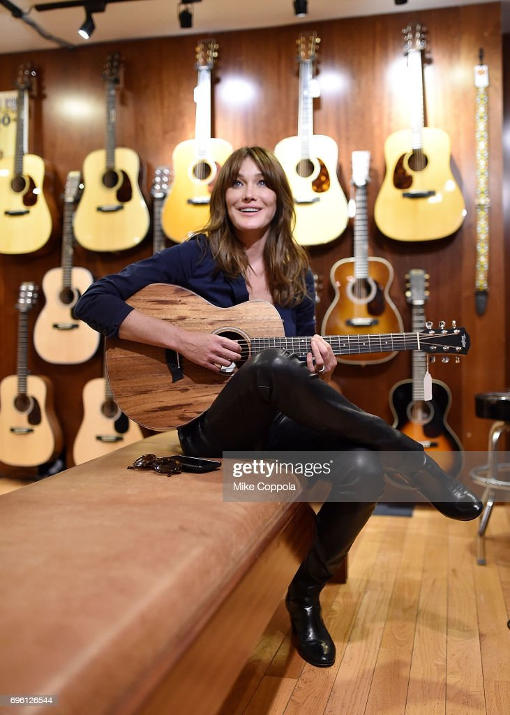 Carla Bruni visits Rudy's Music Shop during her U.S. Showcase on June 14, 2017 in New York City.