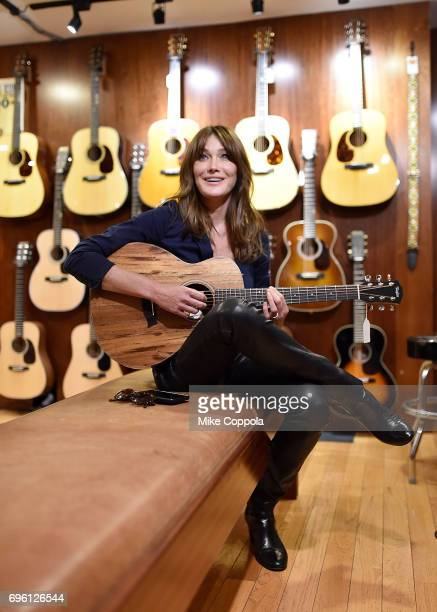 Carla Bruni visits Rudy's Music Shop during her US Showcase on June 14 2017 in New York City