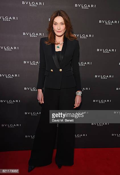 Carla Bruni wearing Bulgari jewellery arrives at the Bulgari flagship store reopening on New Bond Street on April 14 2016 in London England