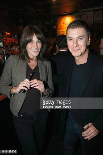 Carla BruniSarkozy and Etienne Daho attend Sylvie Vartan performs at L'Olympia on September 15 2017 in Paris France