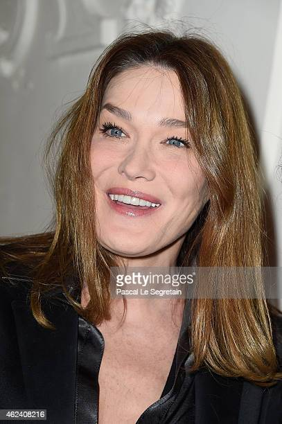 Carla BruniSarkozy attends the Jean Paul Gaultier show as part of Paris Fashion Week Haute Couture Spring/Summer 2015 on January 28 2015 in Paris...
