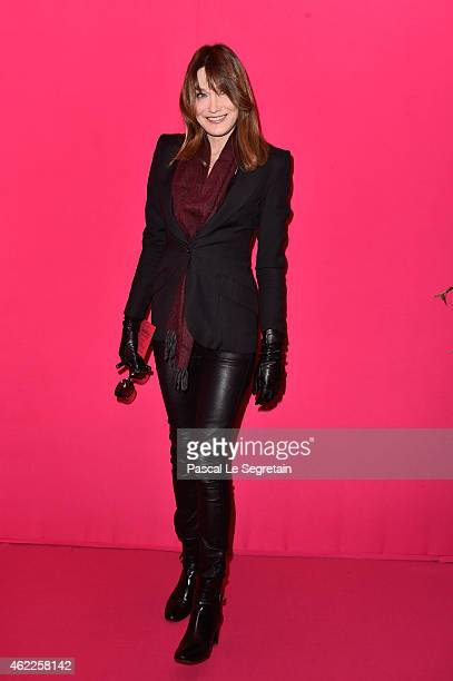 Carla BruniSarkozy attends the Schiaparelli show as part of Paris Fashion Week Haute Couture Spring/Summer 2015 on January 26 2015 in Paris France