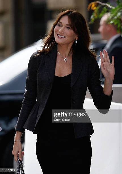 Carla BruniSarkozy the wife of French President Nicolas Sarkozy attends an event at the Andy Warhol Museum with other spouses of world leaders...