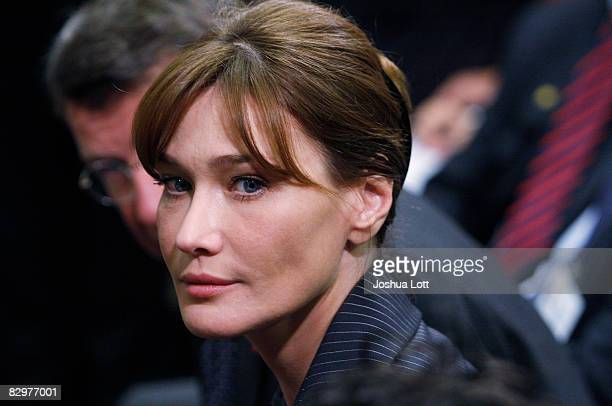 Carla BruniSarkozy wife of French President Nicolas Sarkozy attends a press conference for her husband and French President Nicolas Sarkozy at the...