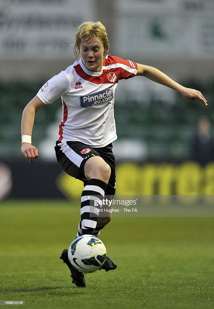 Carla Cantrell of Lincoln Ladies during the FA WSL match between Lincoln Ladies FC and Arsenal Ladies FC at the Sincil Bank Stadium on May 15, 2013 in Lincoln, England