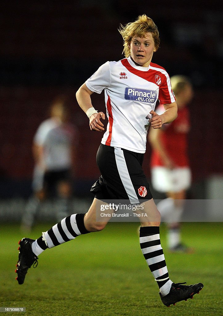 Carla Cantrell of Lincoln Ladies in action during the The FA WSL Continental Cup match between Lincoln Ladies and Arsenal Ladies at Sincil Bank Stadium on May 2, 2013 in Lincoln, England.