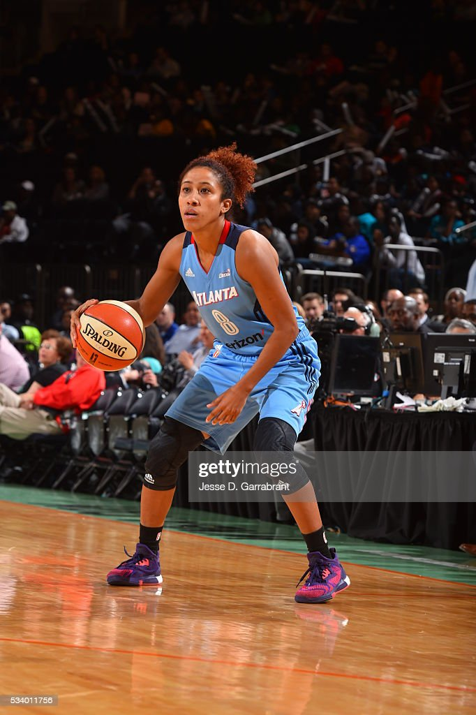 Carla Cortijo #8 of the Atlanta Dream handles the ball against the New York Liberty on May 24, 2016 at Madison Square Garden in New York City, New York.
