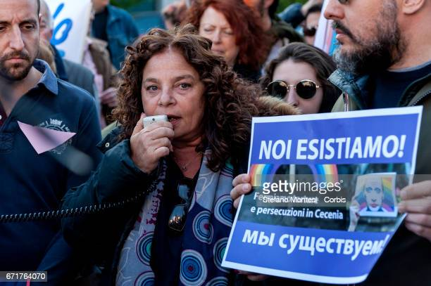 Carla Di Veroli of the Jewish community of Rome speaks during the demonstration of LGBT Associations in front of the Russian Embassy on April 22 2017...