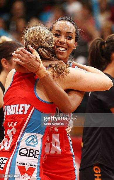 Carla Dziwoki and Susan Pratley of the Swifts celebrate victory during the round three ANZ Championship match between the Swifts and the Magic at...